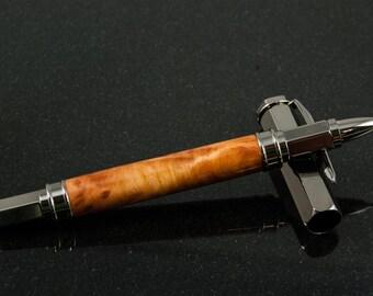 Gunmetal & Redwood Burl Magnetic Vertex Rollerball Pen