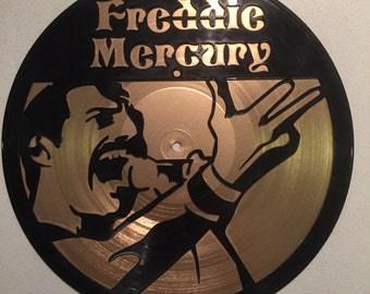 "Freddie Mercury vinyl record wall art - upcycled from an original 12"" vinyl record"
