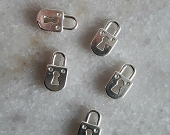 Sterling Silver (925) 11mm Padlock Charm