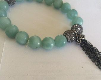 Stretch Bracelet, Boho Bracelet, Gunmetal Pave Beads