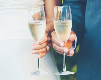 Bride & Groom Toasting Champagne Flutes - Set of two