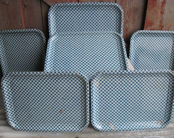 6 Metal Tin Trays Blue Gingham Checked TV Picnic Snack Set 1950's Kitsch