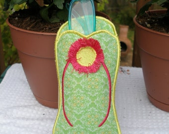 Embroidered Flip Flop Eye Glass Case