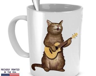 Funny Cat playing Ukulele Mug, Gift for cat lovers