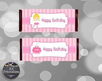 Printable chocolate wrapper, candy bar wrapper, ballerina girl, chocolate bar wrapper, instant download, digital, birthday, ballerina, pink