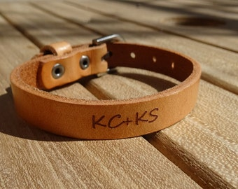 Engraved leather bracelet men with initials or name or text, men gift