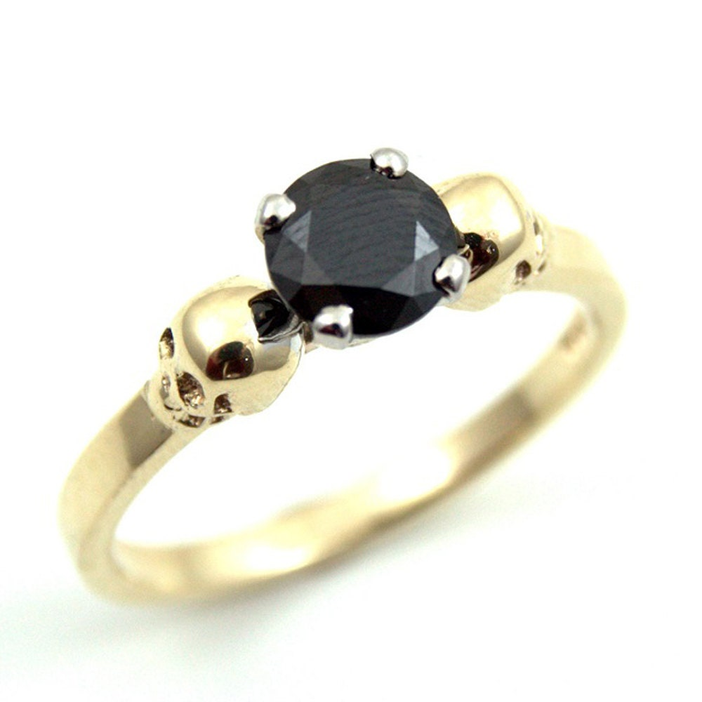 skull ring 9ct gold unique crafted engagement