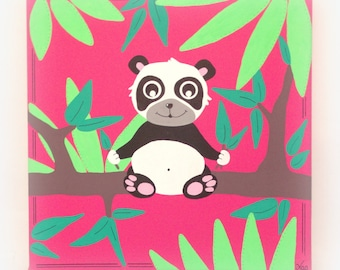 Table panda for child's room, 30x30cm, pink fuschia, canvas panda, painting penada to baby girl 'China', 30x30cm