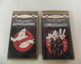Rare Ghostbusters and Ghosbusters II Vintage VHS Movie Set Clamshell Case