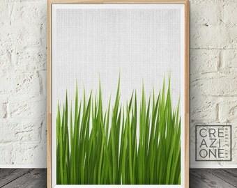 Grass print, Botanical wall art, Green wall decor, Plant photography, Printable art, Scandinavian, Photography grass #003