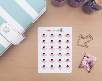 Chibi Girl Studying Planner Stickers