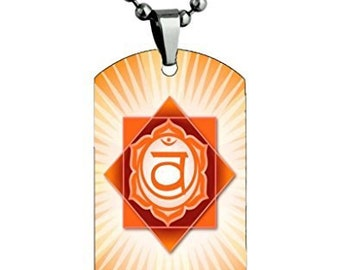 Sacral Chakra Symbol Color Dog tag Necklace Pendant Stainless Steel Chain w/Giftpouch and Keyring sacral chakra symbol