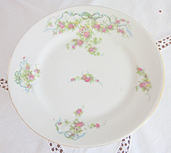 RESERVED FOR JASMINE Vintage French Cake Pedestal/Cake Stand, Pink Flower Decor and Blue Bows, France