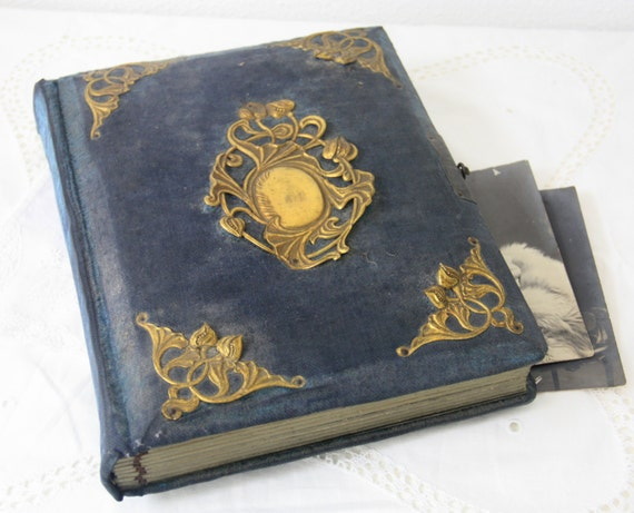 Antique French Photo Album with Metal Clasp Closure, Blue Velvet Cover, Brass Ornament Decor, Original Pictures Included