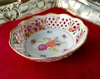 """Dresden Porcelain 5"""" Reticulated Bowl, Hand Painted 1950's Germany"""
