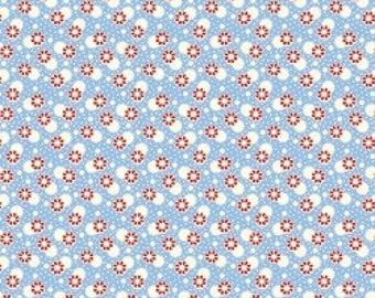 Feedsack Florals - Red White Flowers on Blue - Reproduction 1930s - by the Half Yard
