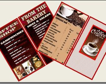 2 Miniature  COFFEE SHOP / Coffee Bar / Cafe MENUS   -  Dollhouse 1:6   1/12   1/24   1/48   scale miniatures