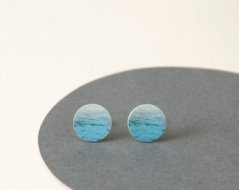 Aqua studs - Ocean inspired aqua Earrings - ocean earrings - Water pattern