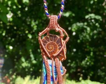 Ammonite and Azurite Malachite Wire Wrapped Pendant