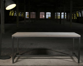 Sleek Steel Industrial Style Dining Table