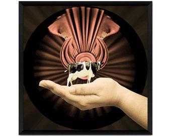 Surreal Art Print, Animal Art Print, Cow in the Hand, Miniature Cow, Surrealism, Dream Art Print
