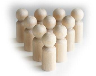 10 x 6cm Boy Peg Doll, Peg People, Waldorf Toys, Little People Dad, Cake Topper, Wood Peg, Craft Supplies