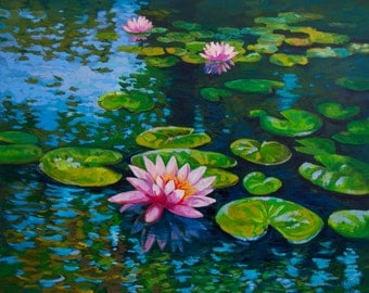 Water lilies in the pond.Original oil painting on canvas.Impressionism painted by Velin Iliev.Size 50/60cm or 19.7/23.6inches