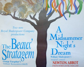 RSC The Beaux' Strategem and A Midsummer Night's Dream Theatre Poster 1989 484x708mm