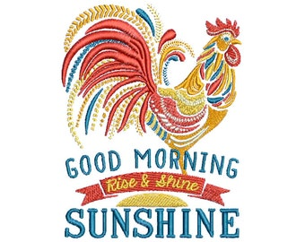 "4.49""T Large - Ornate Rooster - Good Morning Sunshine - Rise & Shine Embroidery Design - Instant Digital Download"