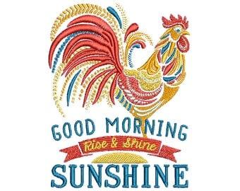 "4.49""T Large - Ornate Rooster - Good Morning Sunshine - Rise & Shine Embroidery Design - Instant Digital Download"