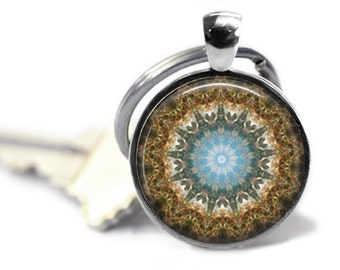 Sacred Geometry key ring Mandala keychain Abstract key fob