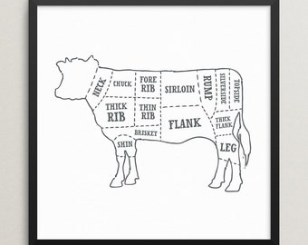 Beef butcher print – Beef butcher poster – Cow beef butcher chart – Cow diagram print – Cow beef cuts print – Kitchen art – BUT003