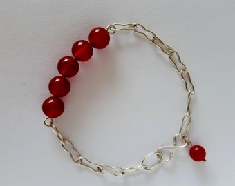 Sterling silver bracelet with handmade chain and red agate beads