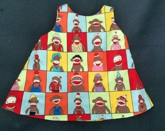 Sock Monkey tie back dress