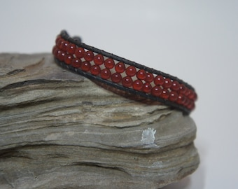 Handcrafted Beautiful Beaded Carnelian and Leather Bracelet