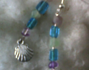 Silver dangle earrings water elements
