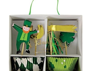 SALE! Meri Meri St. Patrick's Day Cupcake Kit- Includes 24 Cupcake Liners in 2 colors and 24 Cupcake Toppers in 4 styles