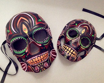 Couple Skull Masquerade Mask Day of the Dead Dia De Muertos Sugar Skull Mask