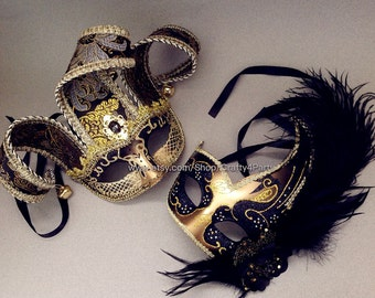 Masquerade Ball Mask Pair Black Gold Feather Encrusted Venetian Style Jester Mask