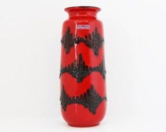 Vintage Vase. West German Vase. Scheurich Vase. West German Pottery. Fat Lava Vase. German Vintage. WGP. Red Vase. Red Decor. Mid Century