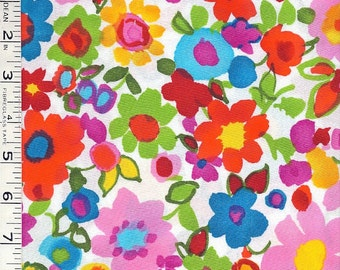 Bright Multi Color Abstract Floral Cotton Fabric by Alexander Henry
