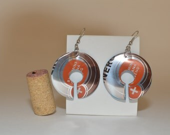 """Almost Circle earrings made from """"Starbucks Doubleshot Energy Hazelnut"""" can"""