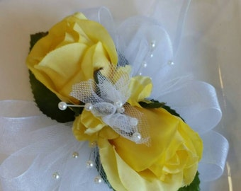 Yellow Wedding Corsage with Matching Boutonniere  Wrist Corsage