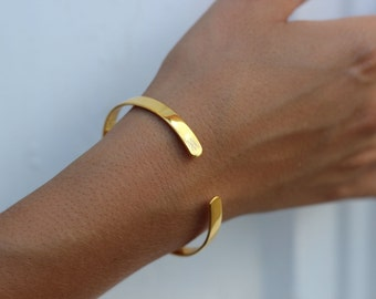 open wide bangle, gold BANGLE, boho chic gold bangle, Gold plated silver bangle, summer bracelet, Gold Cuff Bracelet