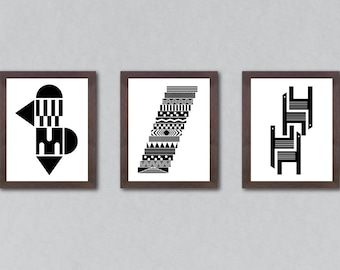 Art print set, set of 3 prints, set of prints, set of 3, abstract art, set, wall decor, set, black and white print, minimalist art, print