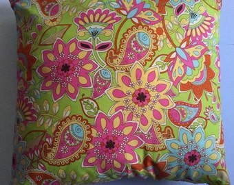 Floral bohemian cushion;a touch of bohemian; orange punk turquoise; perfect little girl or teenager