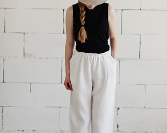 100% Linen White Trousers, hand made in London, sustainable, artisan, fashion