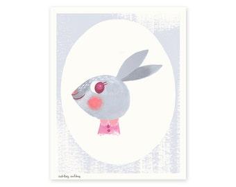 Blushing Bun Bun Illustrated Art Print