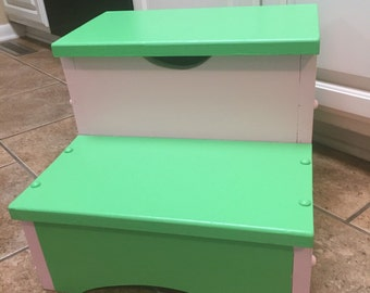 Kids wooden 2-step stool with solid top. Available in a variety of colors and stenciled designs!