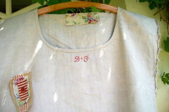 Beautiful Vintage French Smock Oyster Cream Linen Embellished Boho Tunic  handmade dress